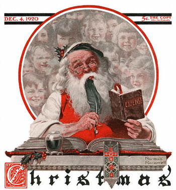 Post 1920-12-04-Saturday-Evening-Post-Norman-Rockwell-cover-Santa-and-Expense-Book-no-logo-400-Digimarc